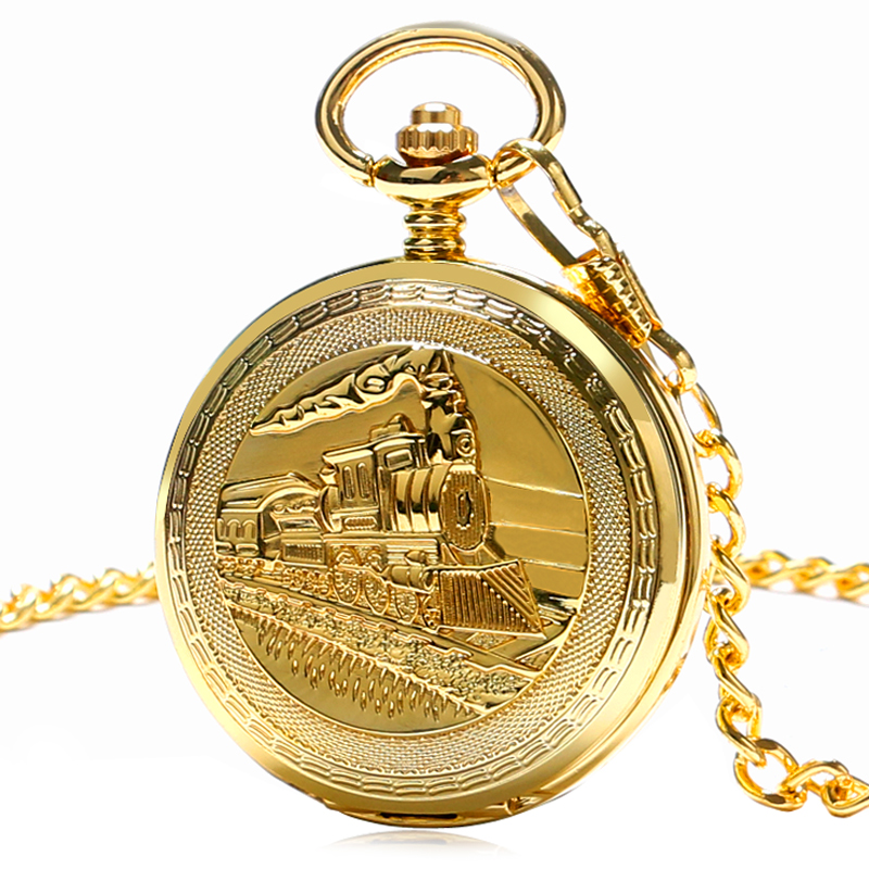 Golden Double Hunter Mechanical Hand-winding Fob Pocket Watches with Chain Train Locomotive Harry Potter Roman Numeral Clock <br><br>Aliexpress
