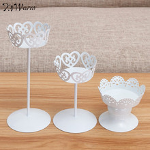 KiWarm Newest Metal Iron Candle Holder Cupcake Stand Cake Dessert Holder Display Flower Vase Home Wedding Party Decor Craft Gift