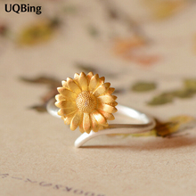 2016 Free Shipping 925 Silver Sunflower Rings For Women Jewelry Finger Rings For Party Birthday Gift