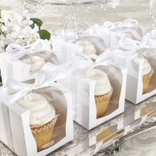 White Paper Single Cupcake Box With PVC Window Tow Muffin Box Party Wedding Favor Boxes Paper Gift Box And Packaging Containers