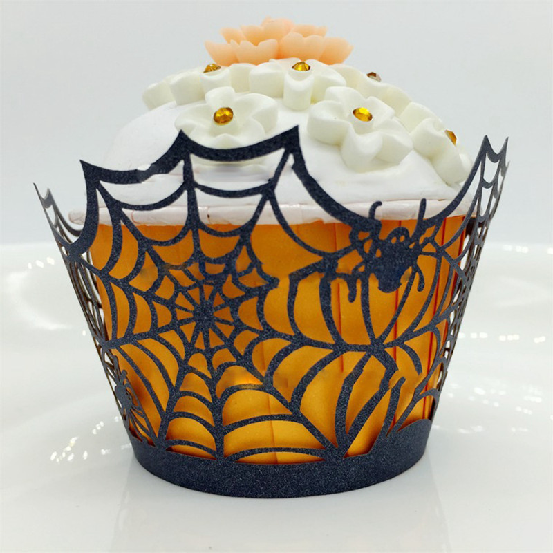 50pcslot halloween laser cut hollow lace filigree wedding cup cake wrapper spider web baking