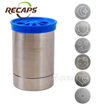 Stainless steel coffee powder tank gauze bucket cocoa cinnamon dusts cans latte art Barista with six mold