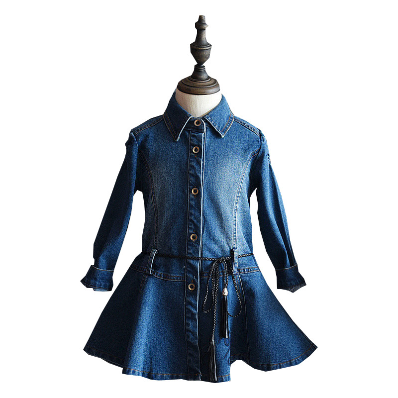 New Fashion Kids Girls Long Sleeve Denim Blue Party Dress 2-7Years Children Jeans Princess Costume Autumn Girls Dress Vestido<br><br>Aliexpress