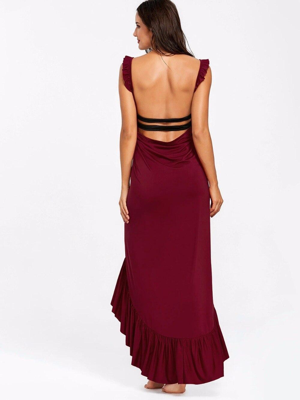 VESTLINDA Beach Dress 2018 Summer Long Flounce Wrap Dress Women Spaghetti Strap Maxi Dresses Robe Femme Sexy Vestidos De Festa 9