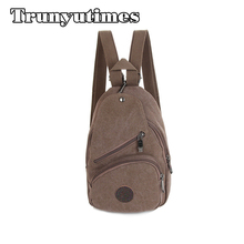 Trunyutimes Women Backpack Men Simple Multifunctional Chest Pack Small Vintage Canvas Backpack School Bags Casual Travel mochila