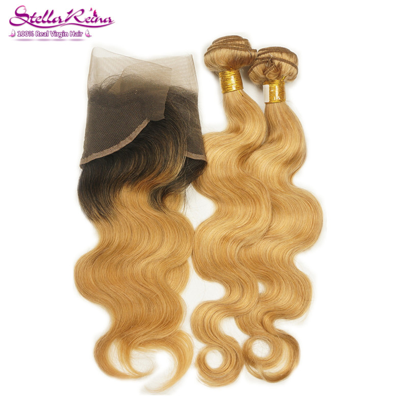 Dark Root 1B/27 13*4 Lace Frontal With 2 Bundles Honey Blonde Brazilian Body Wave Remy Human Hair Extension Bundles With Frontal<br><br>Aliexpress