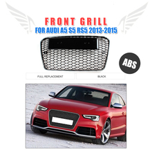 Front Grille RS5 Type Honeycomb Grill Fit for Audi A5 S5 RS5 2013-2015 Facelift ABS Chrome Frame Black Mesh Grill Car Styling