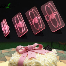 Plastic Bow Cake Cutter Decor Mold Icing Cookie Biscuit Fondant Embosser 4Pcs Cake Cutter Decor ZH01252(China)