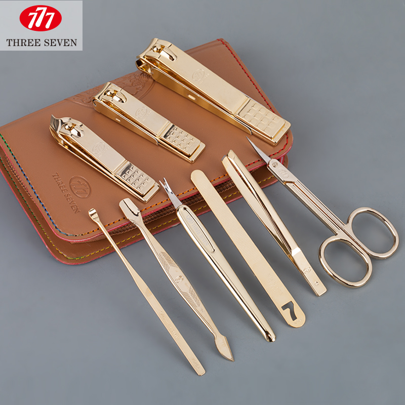 Finger scissors set 9 piece set size muleshoe eyebrow scissors nail clipper dead shovel ershao gold and silver 777 <br>