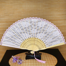 Free Shipping 5pcs Fashion Vintage Spanish Pink Bamboo Carved Lace Hand Held Fans Tulle Folding Fans Wedding Bridal Decoration(China)