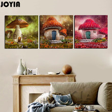 Modern Wall Art Decor Pictures 3 Piece Girl Bedroom Kids Baby Room Canvas Prints Cartoon Fairy Mushroom House Paintings No Frame(China)