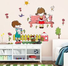 Cartoon 50*70cm Girl Boy Morning Reading Wall Decals Clock DIY Creative clock sticker adesivos Home Decor Mural Decal AY7256
