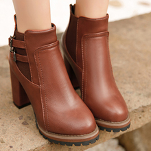 GAOKE 2017 Autumn Winter Fashion Women Boots High Heels Platform Buckle Leather Short Booties Brown Ladies Shoes Good Quality(China)