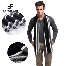 Winter Scarf Men Striped Cotton Scarf Female & Male Shawl Wrap Knit Cashmere Striped Scarf With Tassels(China)