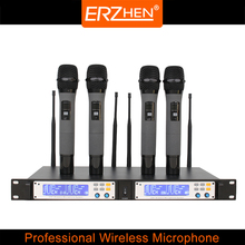 Packet mail R-U4 four channel wireless microphone speaker microphone UHF dual 200 frequency points optional infrared frequency