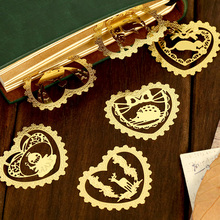 12 pcs/Lot Cute animal Lace metal bookmarks for book marker Mini gold bookmark tab Stationery office School supplies 6836