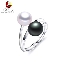 Fashion Solid S925 Sterling Silver Rings For Women Elegant High Luster 5A Natural Pearl Ring Double Pearl Jewelry 8-9mm Lindo(China)