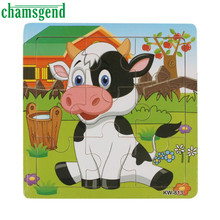 Chamsgend High Quality Wooden Dairy Cow Jigsaw Gift Toys For Kids Education And Learning Puzzles Toys Levert Dropship A8061(China)