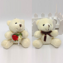 9cm x12pcs Cartoon Plush Sitting Teddy Bear With Flower and Bow Urso De Pelucia key-chain baby shower/wedding gift Soft Toys