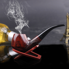 Brand New Nice Gift Rosewood handmade 9mm filter wood smoking pipe+Smoking Pipe Stand+pouch