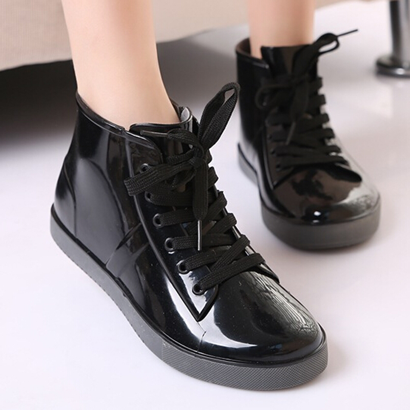 GTIME  Lace-Up Rain Boots Fashion Solid Ladies Flats Ankle Boots Casual Silver Women Boots Shoes Woman 4 Colors Size 35-40 #ZH3<br><br>Aliexpress