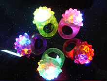 Light-Up Toys Strawberry neon finger rings strawberry silica soft flash ring finger led light 18pcs/lot