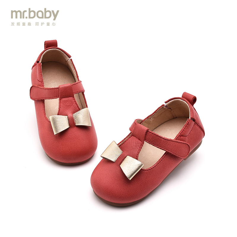 Mr.baby children shoes 2017 spring and autumn new arrival cowhide bow round toe baby toddler shoes <br>
