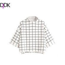 DIDK Womens Clothing T-shirt Women Spring Woman T shirt Top White Grid Funnel Neck Half Sleeve Drop Shoulder T-shirt(China)