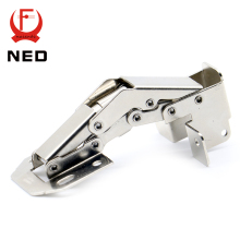 10PCS NED-A101 90 Degree 4 Inch No-Drilling Hole Cabinet Hinge Bridge Shaped Spring Frog Hinge Full Overlay Cupboard Door Hinges(China)