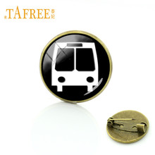 TAFREE Vintage Car/ Bus/ Truck /Vans /Freight Train Brooches 20mm Round Glass Pins Badge Race Car Silhouette Jewelry CR05(China)