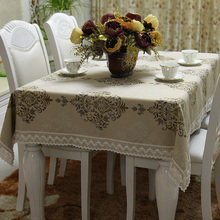 Beige Yarn Dyed Weaving Jacquard Linen Polyester Blended Fashion Formal Tablecloth Fine Fabric Table Cloth Covers Home Gifts
