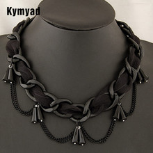 Kymyad Lace Chain Water Drop Necklaces Pendants Black Plated Jewerly Black Necklace Women Jewelry Fashion Jewelry Wholesale(China)