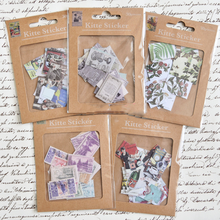 30Pcs Creative Stamp Sticker DIY Retro Classic Travel/Plants/Newspaper for Diary Scrapbooking Decor Adhesive Memo Pad Stationery