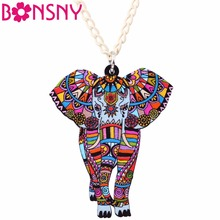 Buy Bonsny Statement Maxi Acrylic Africa Jungel Elephant Choker Necklace Chain Collar Pendant Collar 2017 Fashion New Jewelry Women for $2.99 in AliExpress store