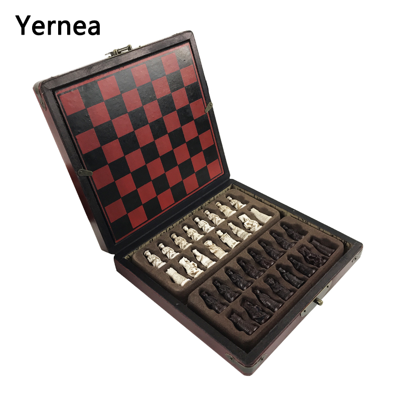 New Antique Chess  Set of Chess Wooden Coffee Table Antique Miniature Chess Board Chess Pieces Move Box Set Retro Style lifelike<br>