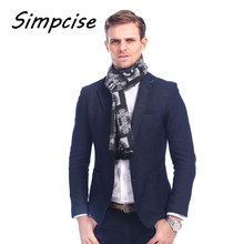 [Simpcise] Letter Male Scarf Men Luxury Brand Winter silk and viscose Bandana Spring Autumn Scarves for Men A3A18893(China)