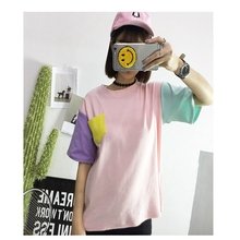 Women's T-Shirt Summer Korean Style Clothes O-neck Tee Solid Patchwork Bottoming Classic Top Free Shipping
