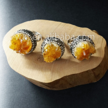 WT-R217 Wholesale rings jewelry Natural druzy yellow citrine quartz with rhinestone pavad around sitrine rings