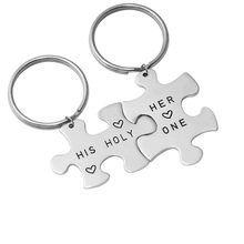 Personalized couple Keychain set, Alloy puzzle Keychain, Customized Name Keychain hand stamp(China)