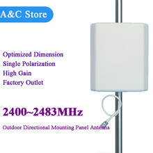 5pcs/lot 2.4ghz antenna 2400-2483MHz Wall Mount Patch Panel directional antenna WiFi antenna high gain 14dBi sma rp sma n-female(China)