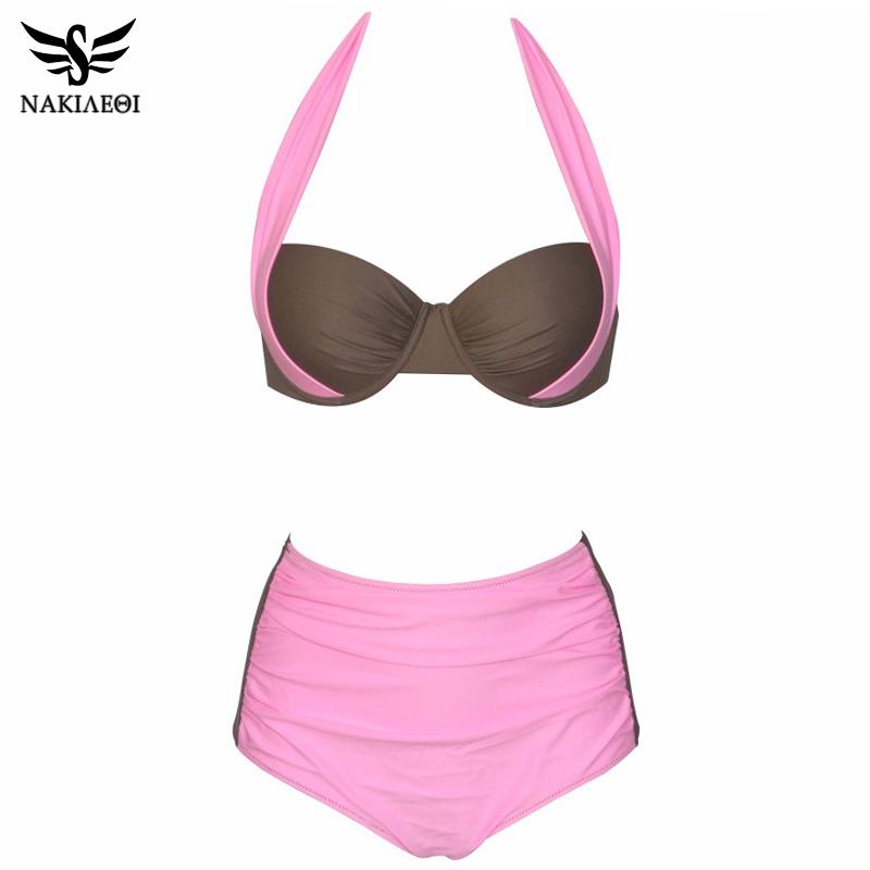 NAKIAEOI 19 New Sexy Bikinis Women Swimsuit High Waisted Bathing Suits Swim Halter Push Up Bikini Set Plus Size Swimwear 4XL 23