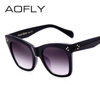 AOFLY 2017 Lunettes De Soleil de Mode Femmes De Luxe Marque Designer Vintage lunettes de Soleil Femme Rivet Lunettes Ombre Style Lunettes UV400