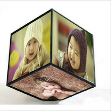 Creative 6 sides electric rotating cube frame Revoling Multi Picture Photo Frames Cube Black Home Decor Family Gift