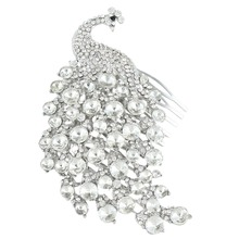 Bella Fashion Wedding Vintage Style Bridal Bird Peafowl Peacock Clear Hair Comb Tiara Austrian Crystal For Bridesmaid Jewelry