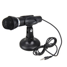3.5mm Microphone Studio Speech Desktop Microphone Stereo MIC with Stand Mount Black for MSN Skype PC Laptop Notebook