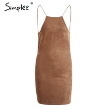 Buy Simplee Sexy suede slim backless short dress Elegant summer sleeveless bodycon dress Evening party club women dress vestidos for $13.99 in AliExpress store