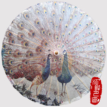 Chinese Handmade Peacock Flaunting its Tail Oiled Paper Umbrella Cosplay Parasol Umbrella