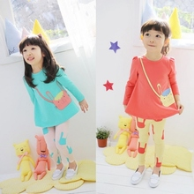 2 Pcs Kids Cotton Clothes Sets Pants + Baby Shirt Girl Long Sleeve Cat Pattern T Shirt Lovely Animal Sets Suits Stylish