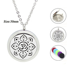 New Arrival! 30mm Magnetic Aroma pendant 316L Stainless Steel Essential Oil Diffusing Necklace Perfume Locket Pendant Jewelry(China)