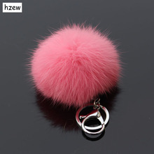 hzew Hot sale Rabbit Chains Fur Ball Cell Phone Car Keychain Handbag Charm Key Chains two colors rabbit fur ball keychain(China)